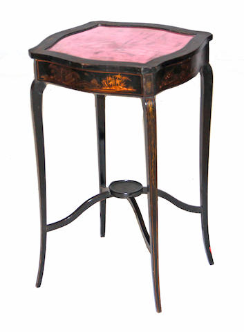 A George III style ebonized japanned vitrine table 20th century