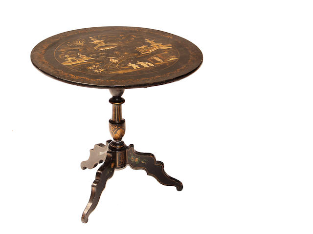 A Chinese Export gilt decorated japanned tripod table mid 19th century