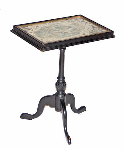 A George III style needlework mounted ebonized tripod table early 20th century, needlework 19th century