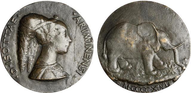 Italy, Bronze Medal of Isotta degli Atti by Matteo de' Pasti 252.2g, 3.5 inch diameter