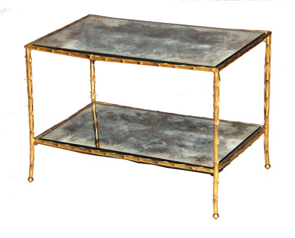 A contemporary Italian gilt metal banded mirrored table mid 20th century