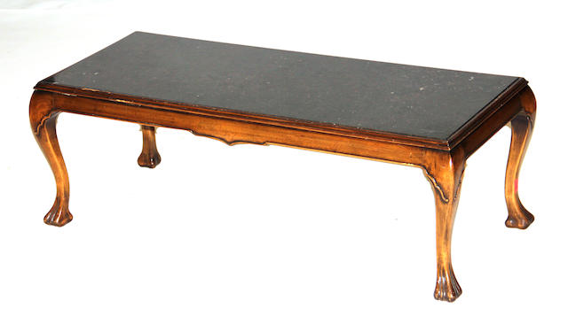 A Louis XV style walnut and granite coffee table 20th century