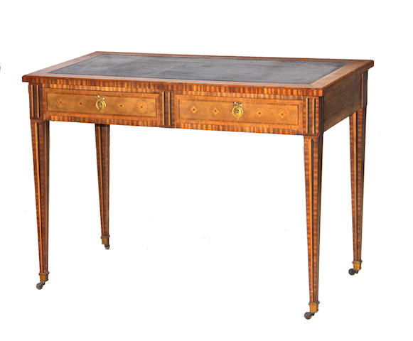 A Louis XVI style parquetry inlaid walnut writing table late 19th/early 20th century
