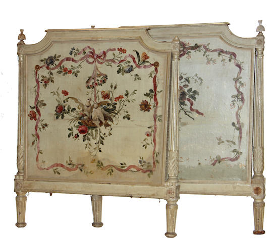 A Louis XVI style paint decorated headboard and footboard late 19th century