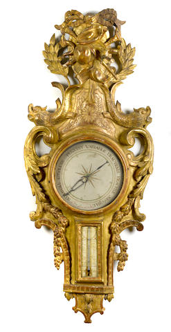 A Louis XVI carved giltwood barometer <BR />fourth quarter 18th century