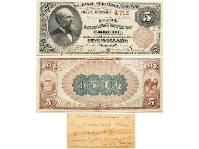 "Fr. 485, 1882 $5 ""Brown Back"" National Bank Note, Creede Colorado, Ch. 4716, VF35 PPQ PCGS"