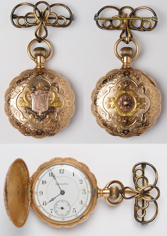 Hampden Ladies pocket watch, 14k, 3-color gold.