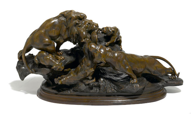 A Continental patinated bronze animalier group  after a model by Antoine Amorgasti (Belgian/Italian, 1880-1942) late 19th/early 20th century