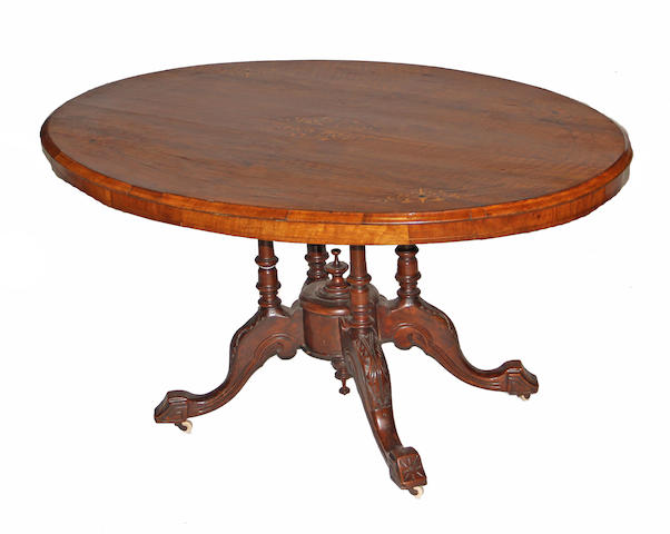 An English Victorian walnut table mid 19th century