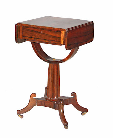 A late Regency style rosewood sewing table early 19th century