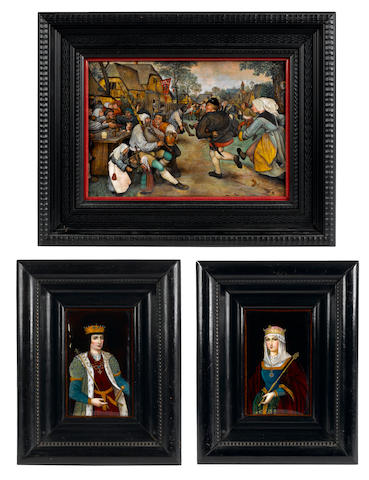 A group of three Limoges enamel panels <BR />late 19th century
