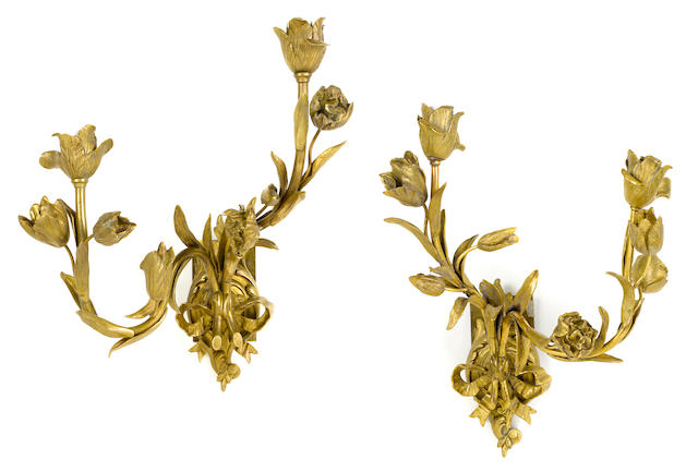 A pair of French gilt bronze two light bras de lumière <BR />late 19th/early 20th century