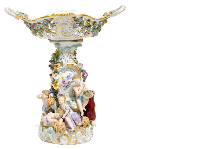 A Meissen porcelain centerpiece  <BR />late 19th century