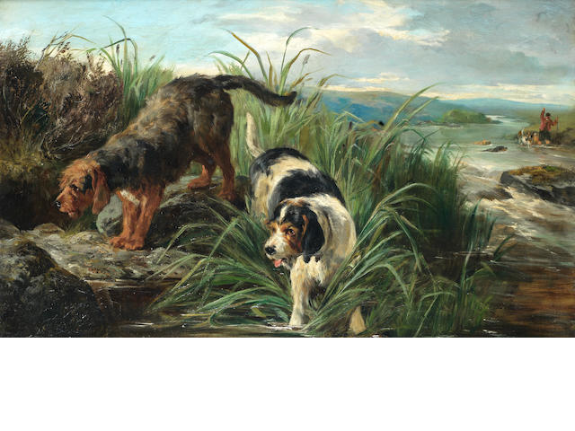 John Sargent Noble, RBA (British, 1848-1896) Otter hunting 18 x 30 in. (45.5 x 76 cm.)