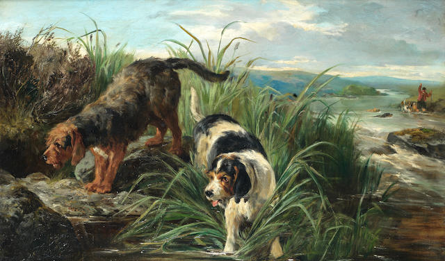 John Sargent Noble, RBA (British, 1848-1896) Otter hounds on the scent