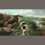 John Sargent Noble, RBA (British, 1848-1896) Otter hunting 18 x 30in. (45.5 x 76cm.)