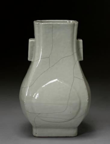 A celadon glazed archaistic porcelain vase, fang-hu Qianlong mark