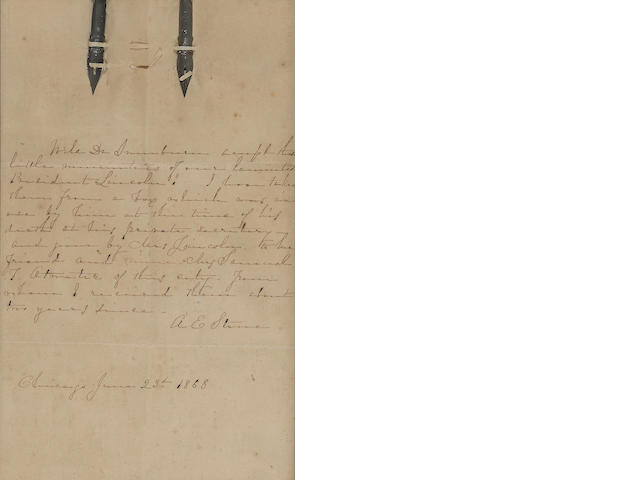 LINCOLN, ABRAHAM. 1809-1865. 2 pen nibs used by Lincoln as President,