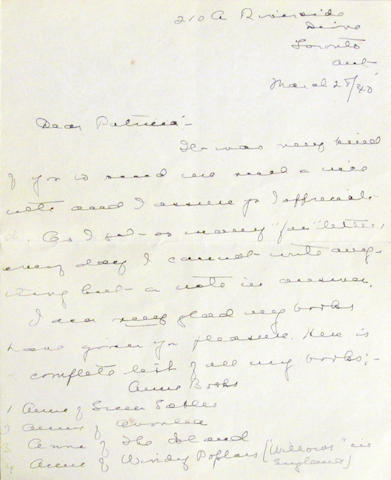 "MONTGOMERY, LUCY MAUD.  1874-1942. Autograph Letter Signed (""L.M. Montgomery Macdonald""), 3 pp recto and verso, 8vo (conjoining leaves), Toronto, March 28, 1940,"