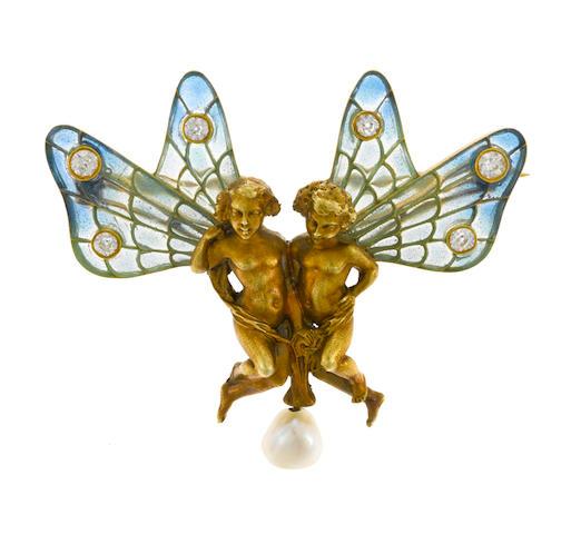 An art nouveau plique-à-jour, diamond and cultured pearl winged putti brooch, Puisson et Hartz, French,