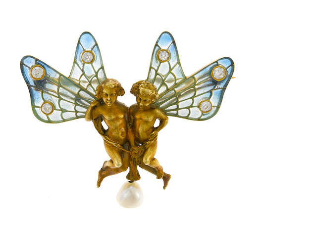 An art nouveau plique-à-jour, diamond and cultured pearl winged putti brooch, Puisson et Hartz, French,