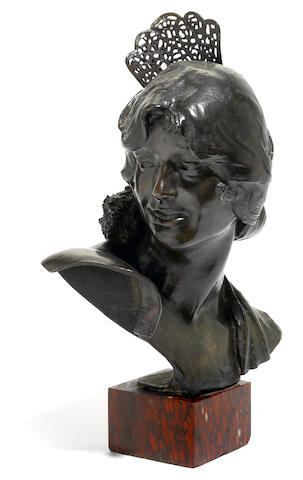 A French patinated bronze bust <BR />early 20th century