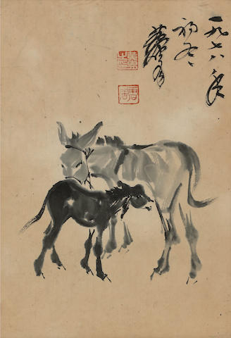 Huang Zhou (1925-1997) Donkey and Calf, ink on paper, framed and glazed, dated 1978
