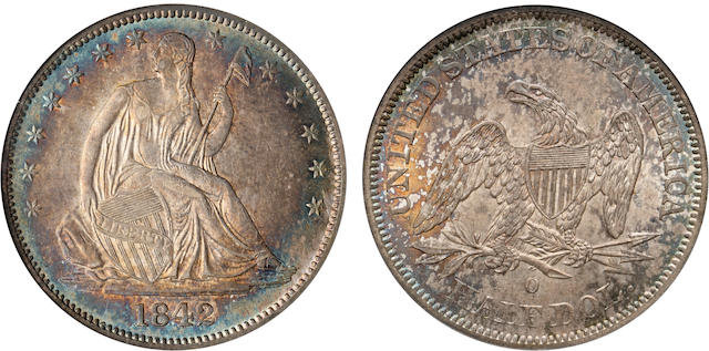 1842-O 50C Med Date MS62 NGC