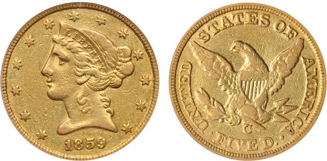 1859-C $5 XF40 PCGS