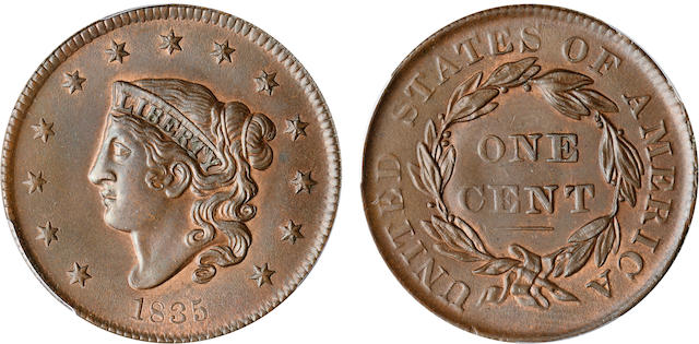 1835 1C Small 8, Small Stars MS62 Brown PCGS