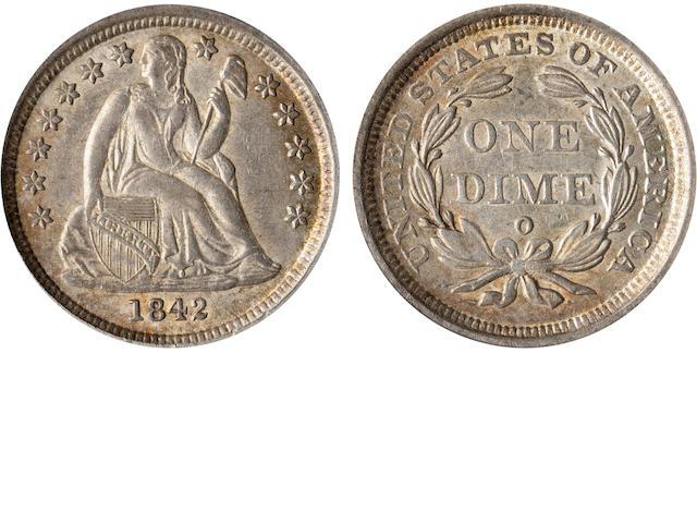 1842-O 10C AU55 PCGS CAC