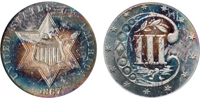 1867 3CS MS66 PCGS