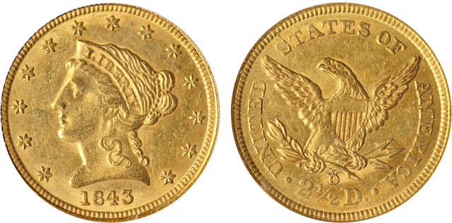 1843-D $2.5 Small D AU55 PCGS