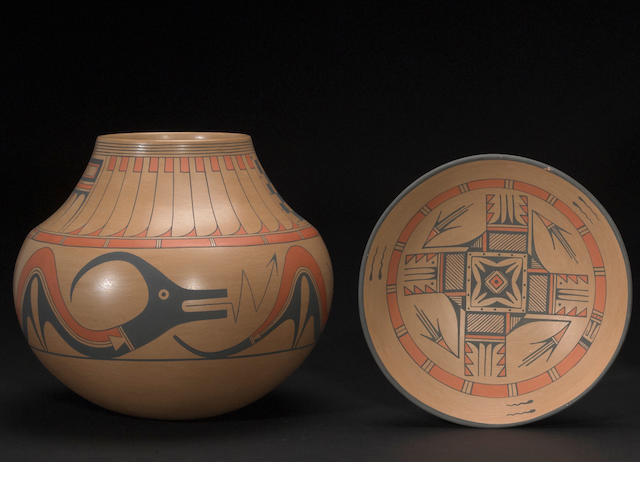 Two San Ildefonso polychrome vessels