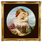 A French porcelain panel depicting a young mother and child