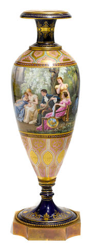 A Vienna style gilt bronze mounted porcelain vase  early 20th century