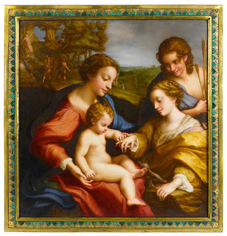 An important and large Sèvres porcelain plaque: The Mystic Marriage of St. Catherine <BR />painted by Abraham Constantin (Swiss, 1785-1851), after the painting by Correggio (Italian, 1489-1540)<BR />circa 1819