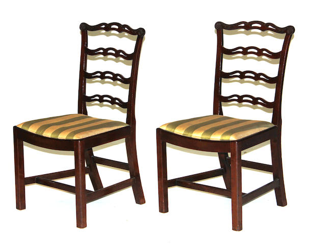 A set of eight George III mahogany dining chairs<BR />third quarter 18th century