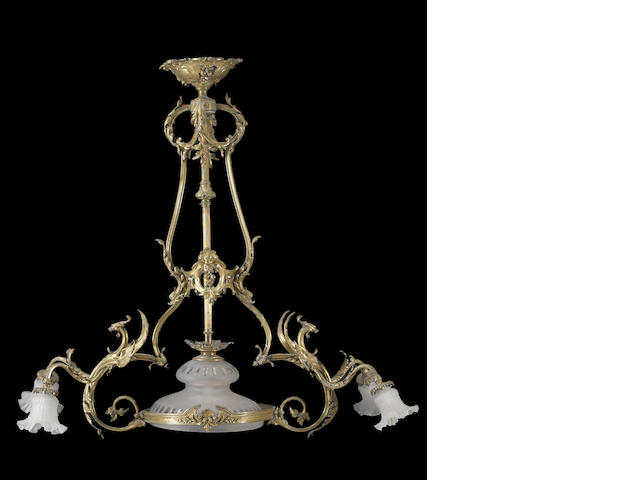A Victorian gilt metal five light chandelier<BR />third quarter 19th century