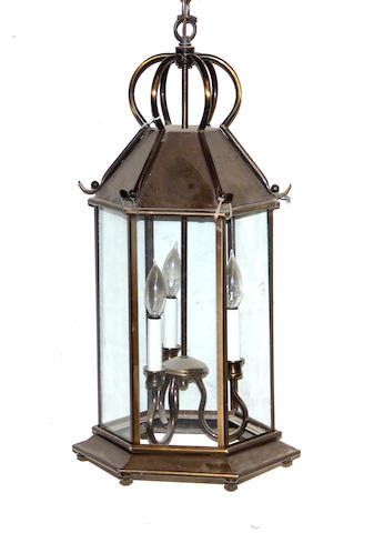 A Louis XV style brass and glass lantern 20th century