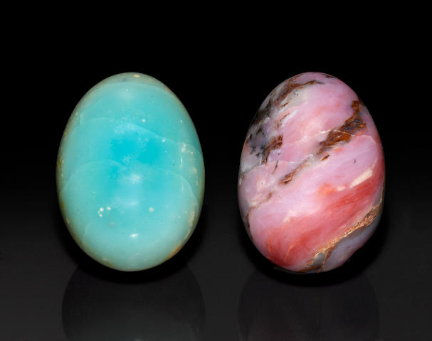 Two Opal Egg-form Carvings