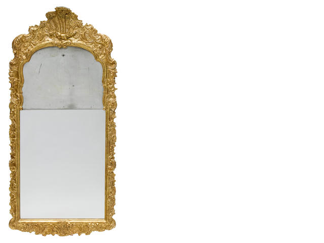 A George II carved giltwood mirror  <BR />second quarter 18th century