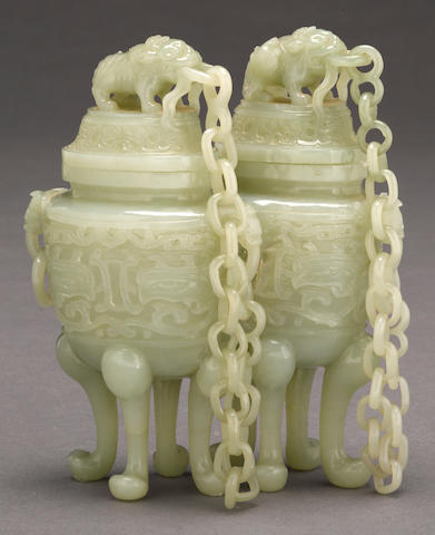 A pale green jade double covered vase Late Qing dynasty/Republic period