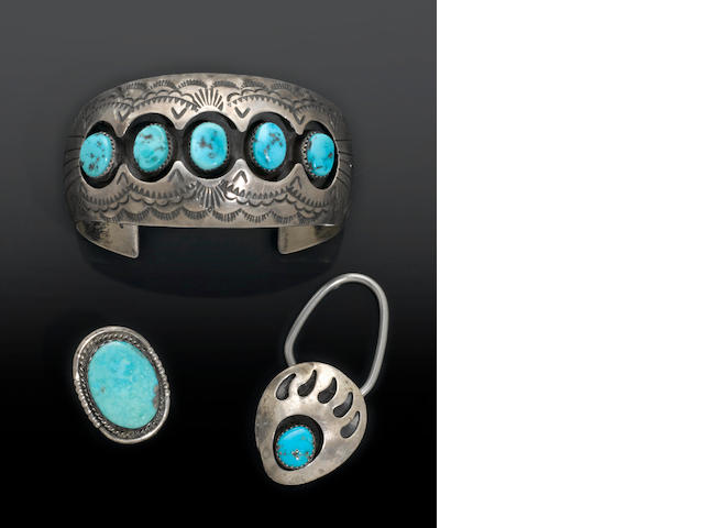 Turquoise and Silver Bracelet and Two Other Items