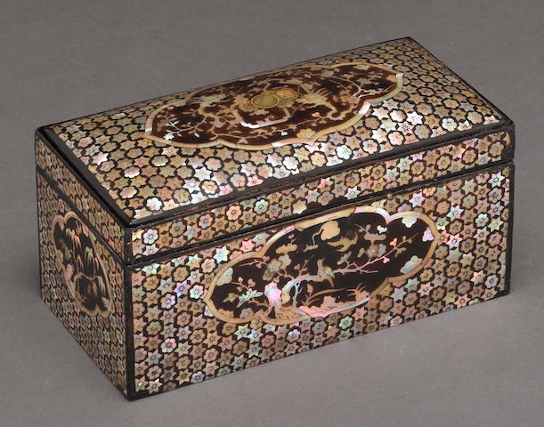 A lacquer and mother-of-pearl inlaid box 19th century