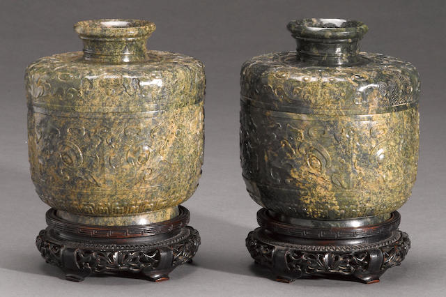 A pair of green hardstone covered jars Late Qing dynasty/Republic period