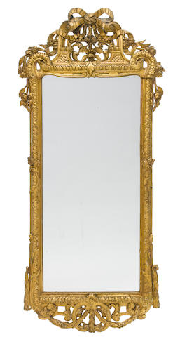 A Louis XV style carved giltwood mirror  19th century