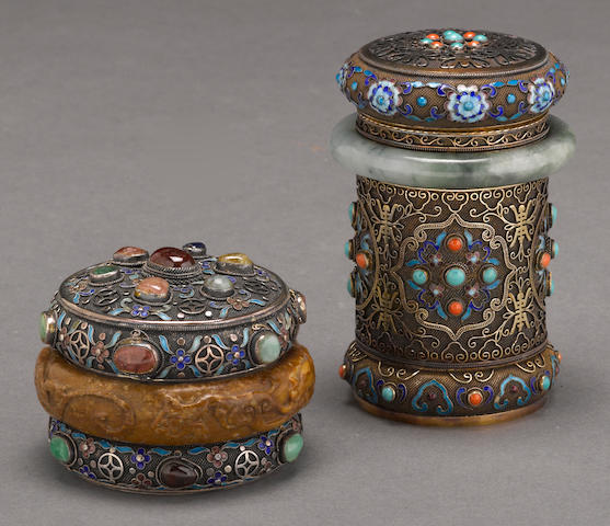 Two silver boxes with hardstone and enamel decoration 20th century