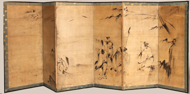 A six-panel screen 18th/19th century Depicting Chinese sages, ink on paper.