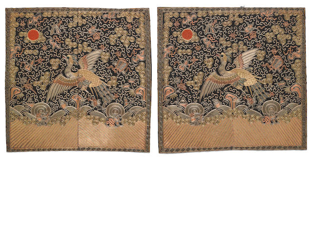 A pair of embroidered silk badges of the third civil rank Late Qing/ Republic period